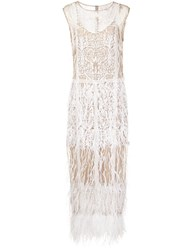 Nicole Miller Semi Sheer Feather Effect Dress Nude And Neutrals