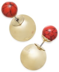 Macy's Inspired Life Metallic Ball And Stone Bead Front And Back Earrings