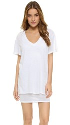 Feel The Piece Talia V Neck T Shirt Dress White