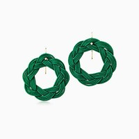 Tiffany And Co. Elsa Peretti Circle Hook Earrings In Green Woven Silk With 18K Gold.
