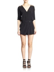 Ramy Brook Dottie Silk Short Jumpsuit Black