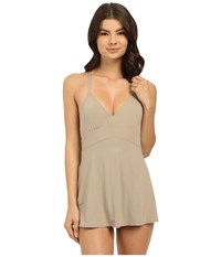 Vince Camuto Fit And Flare Swimdress W Adjustable Straps And Removable Cups Sandstone Women's Swimsuits One Piece Beige