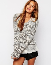 Abercrombie And Fitch Knitted Jumper With Side Splits Pattern