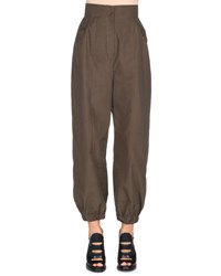 Fendi High Waist Taffeta Harem Pants Aloe Dark Green Aloe Dark Green