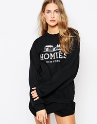 Reason Homies Oversized Boyfriend Crew Neck Sweatshirt Black