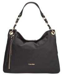 Calvin Klein Large Nylon Hobo Black Gold