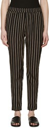 Won Hundred Black And Tan Striped Brandy Trousers