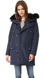 The Kooples Satin Fur Parka Navy