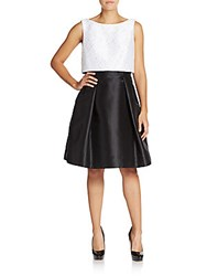 Theia Sequined Crop Top Flared Dress White Black