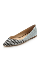 Loeffler Randall Lou Pointed Toe Flats Black White Powder