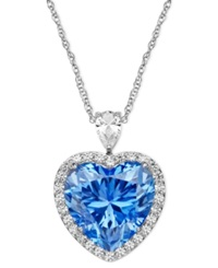 Arabella Sterling Silver Necklace Blue And White Swarovski Zirconia Heart Pendant 19 5 8 Ct. T.W. Clear
