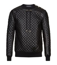 Balmain Quilted Leather Jumper Male Black