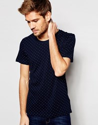 Selected Homme T Shirt Witth All Over Print Navy Blue