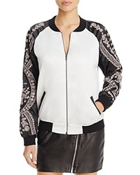 Aqua X Maddie And Tae Floral Branch Embroidered Bomber Jacket 100 Bloomingdale's Exclusive White Black