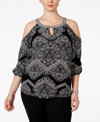 Inc International Concepts Plus Size Printed Cold Shoulder Blouse Only At Macy's Zig Zag Paisley