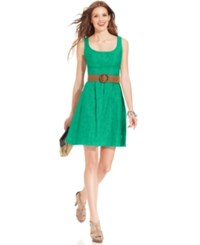 Nine West Belted Burnout Fit And Flare Dress Mojito
