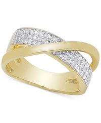 Victoria Townsend Diamond Crossover Ring In Sterling Silver Or 18K Gold Over Sterling Silver 1 4 Ct. T.W. Yellow Gold