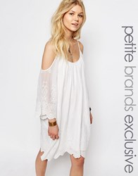White Cove Petite All Over Crochet Lace Cold Shoulder Mini Dress White