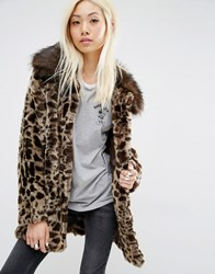 Unreal Fur Venus Faux Leopard Coat Brown