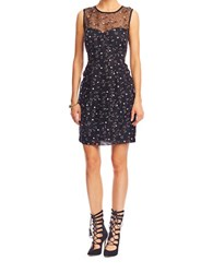 Nicole Miller Silk Sequined Overlay Dress Black Multi