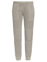 James Perse Cropped Stretch Cotton Trousers Light Grey