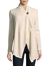 Bobeau Long Sleeve Waffle Knit Sweater Ivory Cream