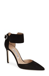 Manolo Blahnik 'Chantasta' Ankle Cuff Pump Women Black Suede
