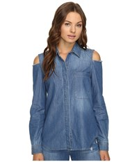 7 For All Mankind Long Sleeve Cold Shoulder Denim Shirt In Authentic Vista Blue Authentic Vista Blue Women's Clothing