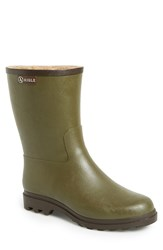Aigle 'Faconnay' Waterproof Rubber Boot With Faux Shearling Lining Khaki