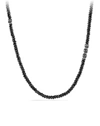 Black Spinel Beaded Necklace With Skulls David Yurman