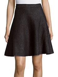 Saks Fifth Avenue Black Marled Flared Skirt Black Bleach