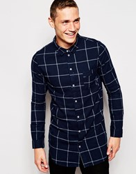 Another Influence Flannel Windowpane Check Shirt Navy