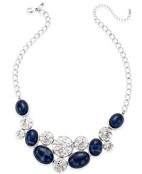 Inc International Concepts Silver Tone Blue Bead Hammered Disc Statement Necklace Only At Macy's