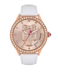 Betsey Johnson Rose Goldtone Molded 3 D Skull Dial Watch White