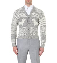 Thom Browne Short Hector Knitted Cardigan Light Grey