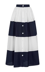 Mds Stripes Colorblocked Ball Skirt Navy