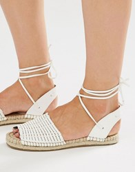 New Look Tie Ankle Espadrille Sandal White