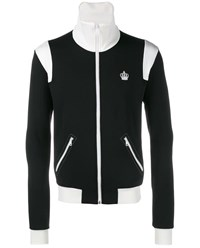 Dolce And Gabbana Crown Embroidered Tracksuit Top Black White Denim