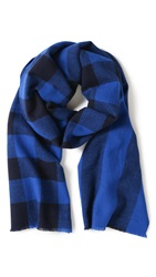 Marc By Marc Jacobs Boiled Wool Plaid Scarf Palace Blue Multi
