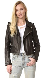 Faith Connexion Boxy Leather Jacket Black
