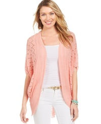 Ny Collection Pointelle Knit Lace Back Cardigan Quartz Pink