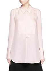 Vince Tuxedo Inset Silk Blouse Pink