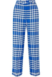 Jacquemus Plaid Woven Straight Leg Pants Bright Blue