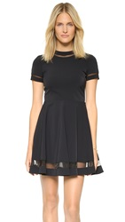 Alice Olivia Frances Mini Flared Dress Black