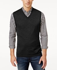 Club Room Men's Big And Tall V Neck Merino Wool Sweater Vest Only At Macy's Ebony Heather