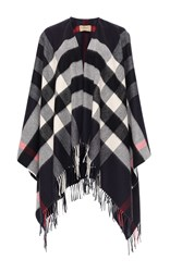 Burberry Collette Wool Cashmere Cape Navy