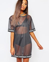 Shade London Sheer Mesh T Shirt Dress Petrol Silver