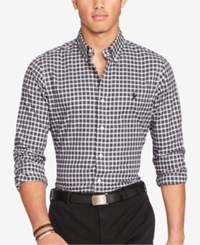 Polo Ralph Lauren Men's Twill Plaid Shirt Black White