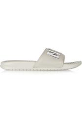 Nike Nyc Benassi Jdi Print Embroidered Leather And Foam Slides