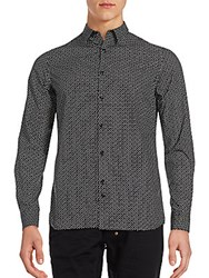 J. Lindeberg Printed Long Sleeve Cotton Shirt Black White